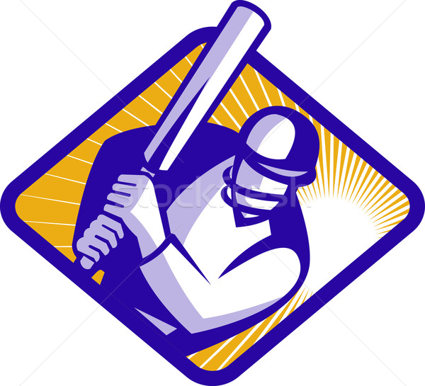 Cricket Player Batsman Batting Retro Stock photo © patrimonio