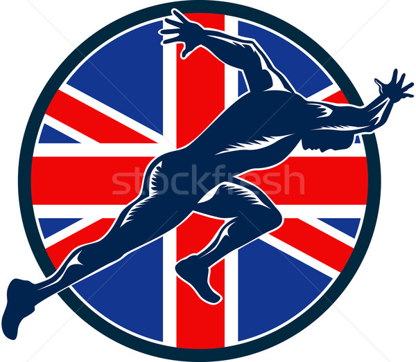 Runner Sprinter Start British Flag Circle Stock photo © patrimonio