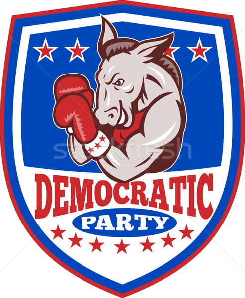 Democrat Donkey Mascot Boxer Shield Stock photo © patrimonio