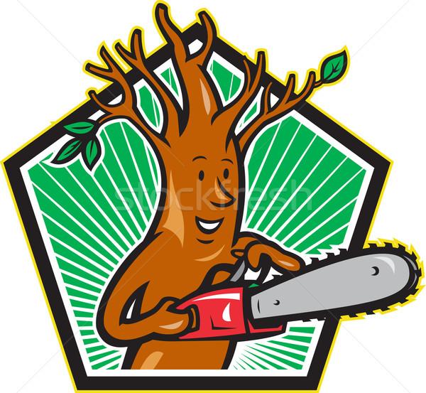Tree Man Arborist With Chainsaw Stock photo © patrimonio
