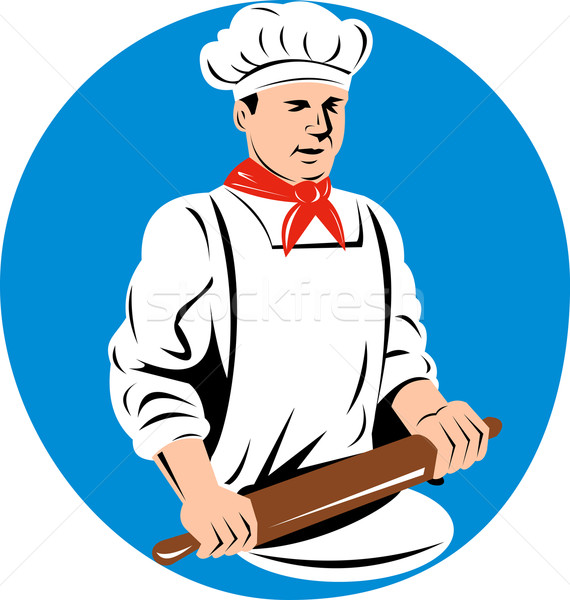 chef cook baker holding  kneading rolling pin Stock photo © patrimonio