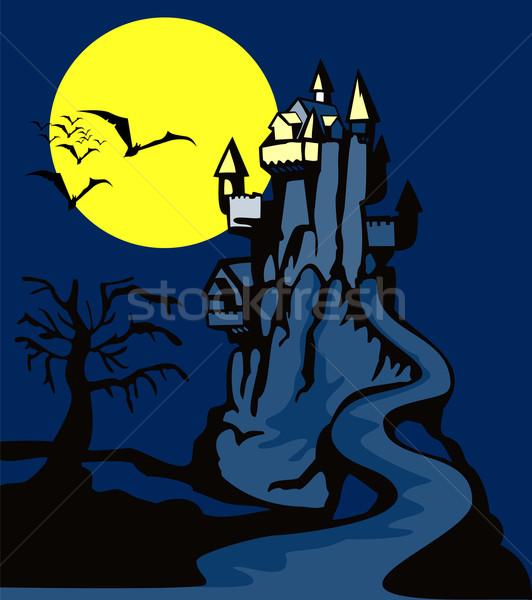 Burg toter Baum Illustration Vollmond bat Retro-Stil Stock foto © patrimonio