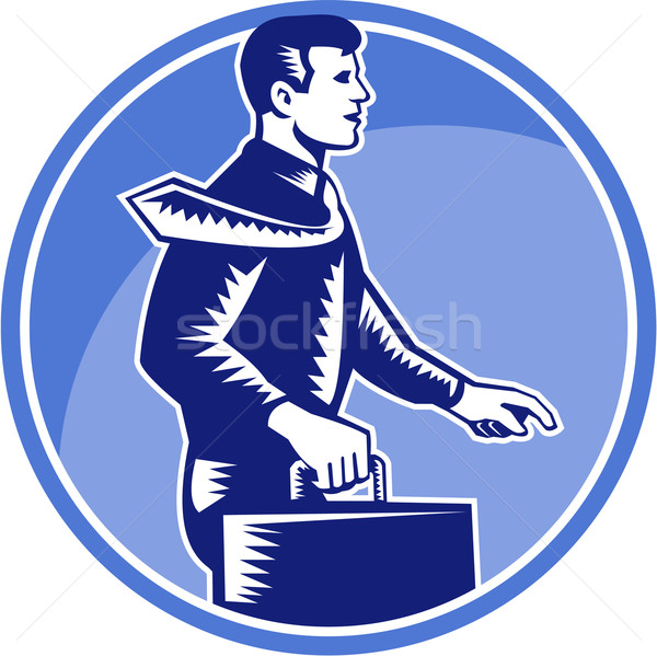 Businessman Carry Attache Case Walking Side Woodcut Stock photo © patrimonio