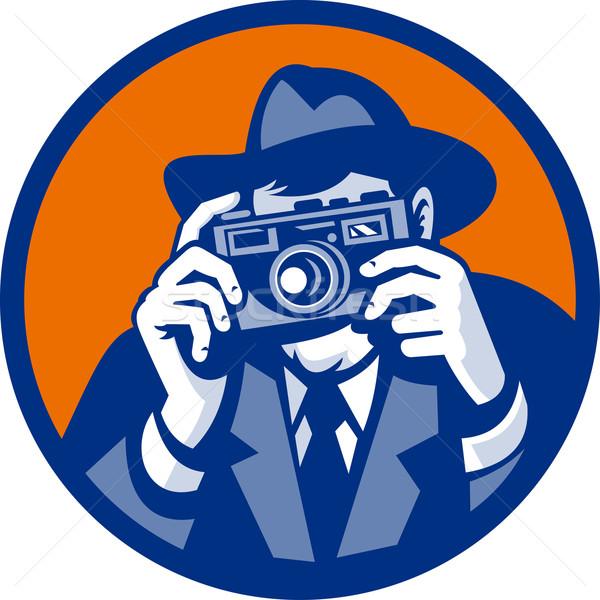 Photographer with fedora hat aiming retro slr camera  Stock photo © patrimonio