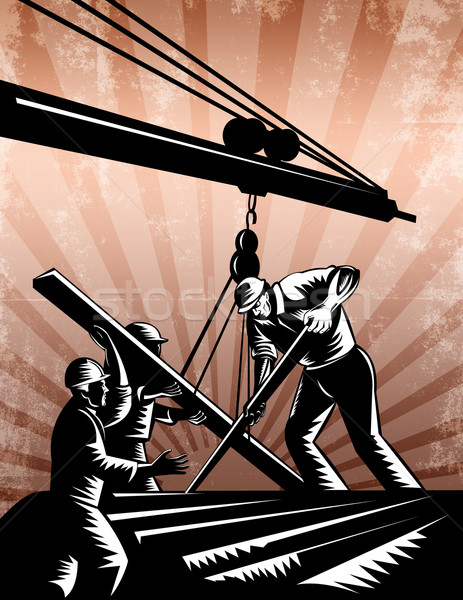 Construction Team Workers Woodcut Retro Poster  Stock photo © patrimonio