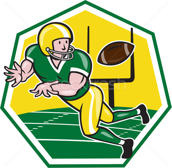 American Football Wide Receiver Catching Ball Cartoon Stock photo © patrimonio