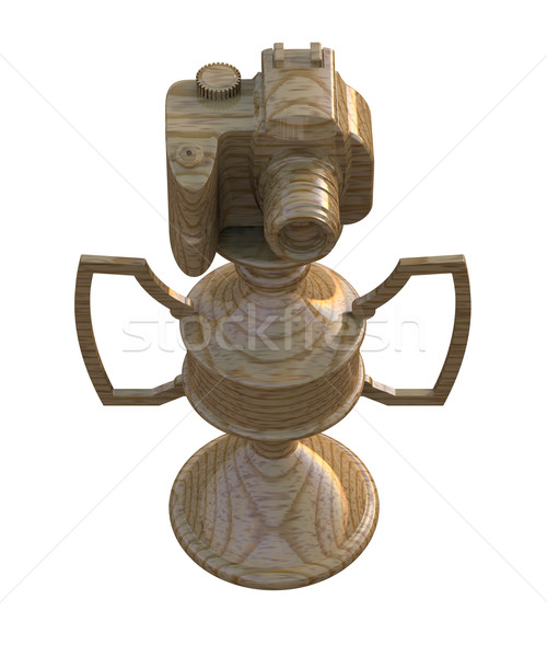 Stock photo: Gold DSLR camera trophy or cup isolated on white