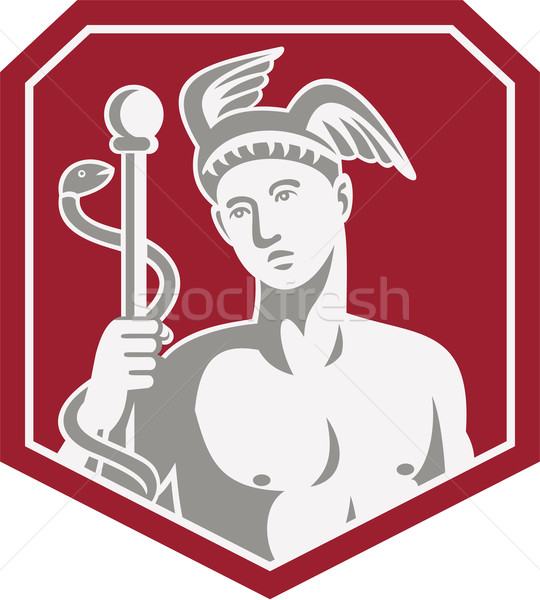 Mercury Hold Caduceus Staff Circle Retro Stock photo © patrimonio