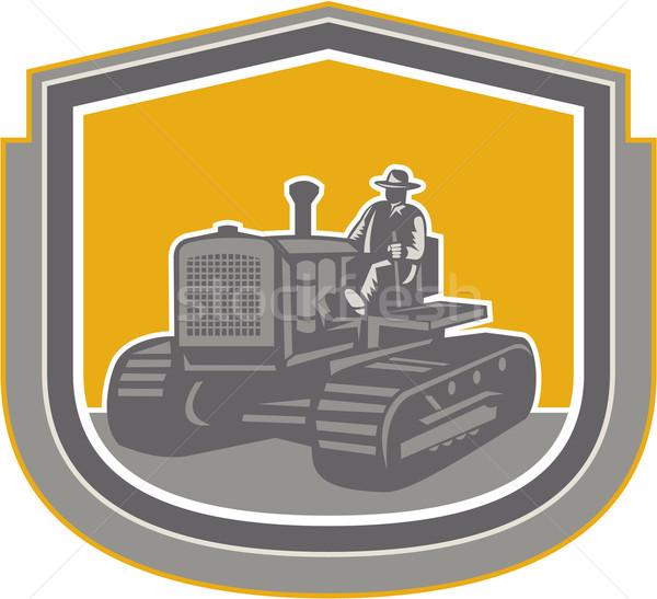 農家 運転 トラクター ファーム シールド レトロな ストックフォト © patrimonio