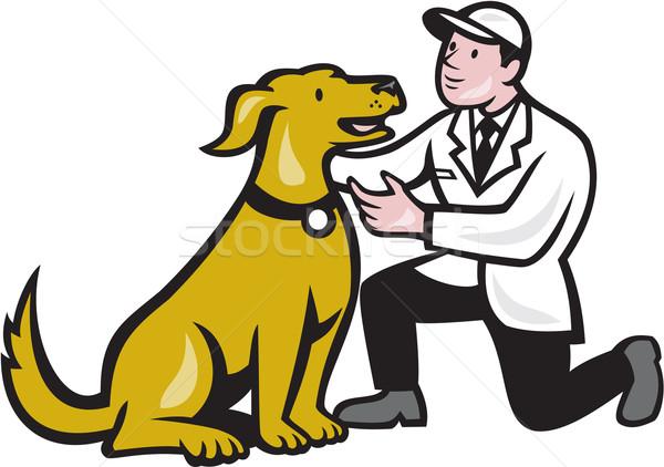 Veterinarian Vet Kneeling With Pet Dog Cartoon Stock photo © patrimonio