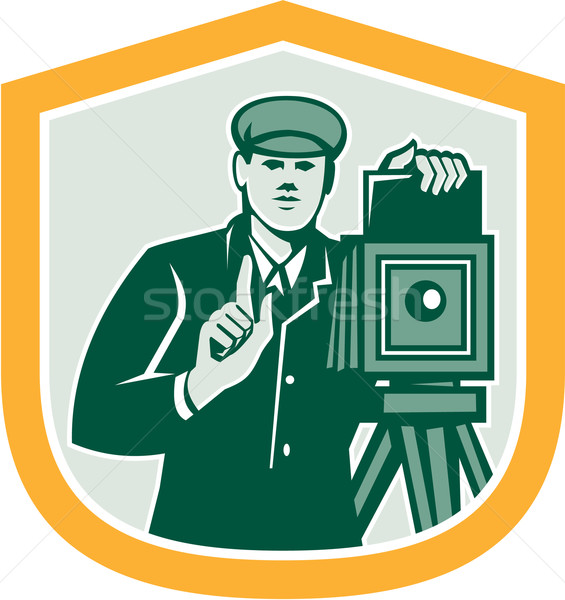 Photographer Shooting Vintage Camera Shield Retro Stock photo © patrimonio