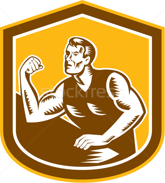 Armdrücken Champion Schirm Illustration Muskeln Vorderseite Stock foto © patrimonio