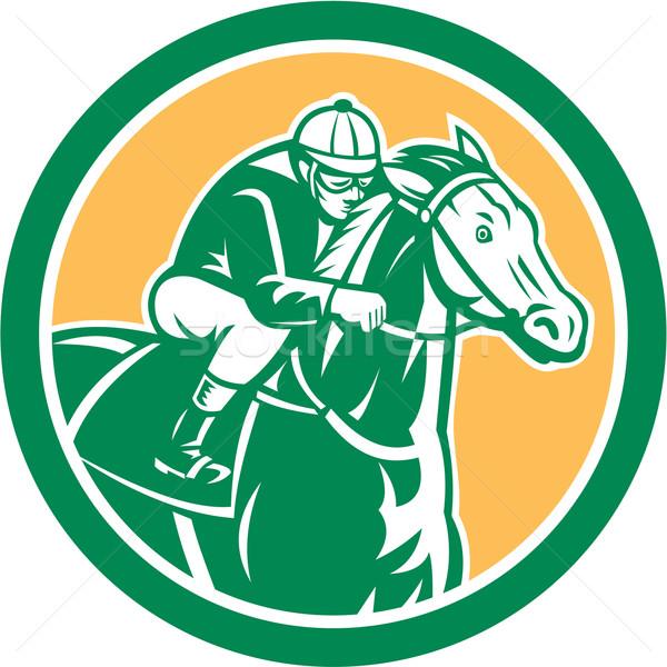 Jockey paardenraces cirkel retro illustratie paard Stockfoto © patrimonio