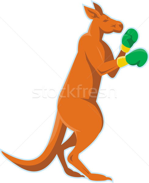 Kangaroo Boxer Boxing Retro Stock photo © patrimonio