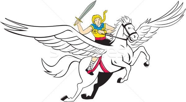 Valkyrie Amazon Warrior Flying Horse Cartoon Stock photo © patrimonio