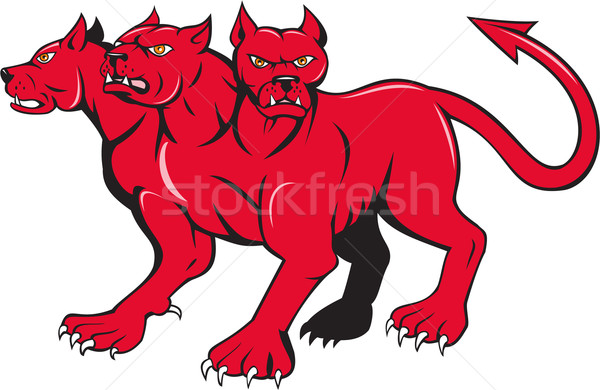 Cerberus Multi-headed Dog Hellhound Cartoon Stock photo © patrimonio