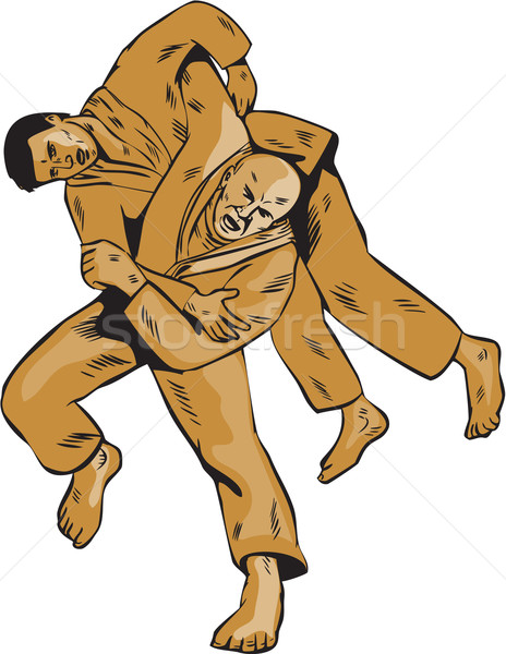 Judo Combatants Throw Front Etching Stock photo © patrimonio