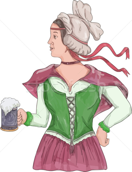 German Barmaid Serving Beer Watercolor Stock photo © patrimonio
