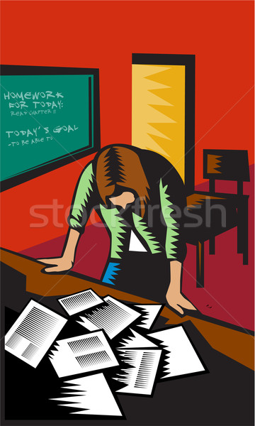 Depressed Female School Teacher Classroom Woodcut Stock photo © patrimonio