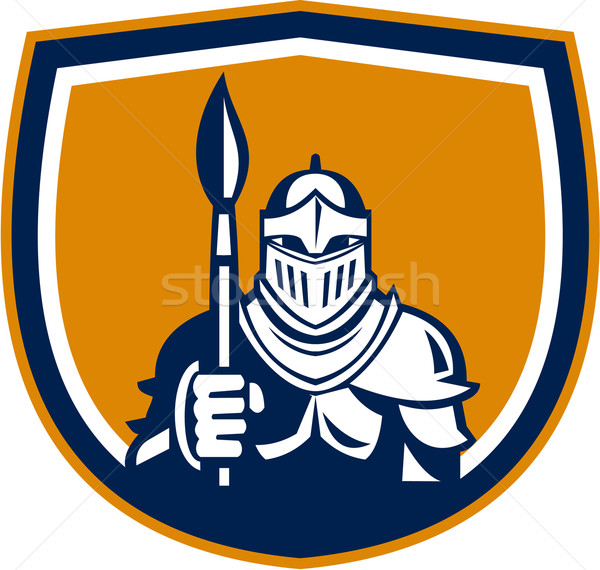 Knight Full Armor Holding Paint Brush Crest Retro Stock photo © patrimonio