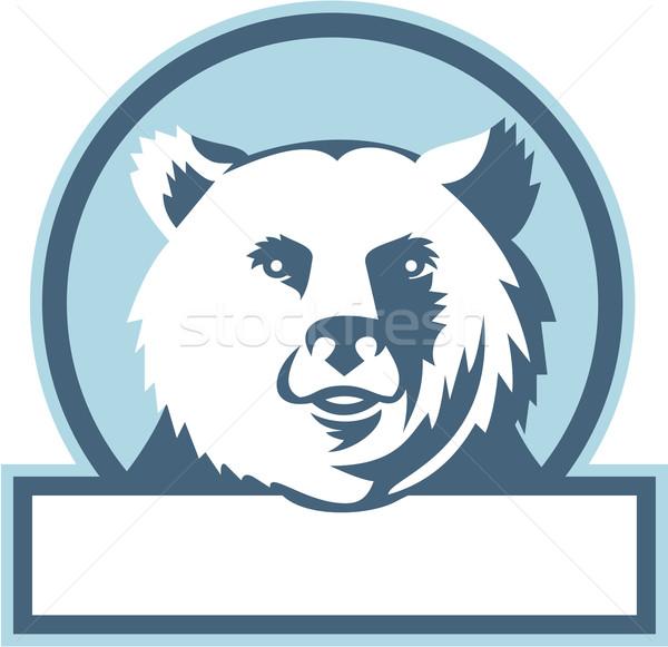 California Grizzly Bear Head Smiling Circle Retro Stock photo © patrimonio