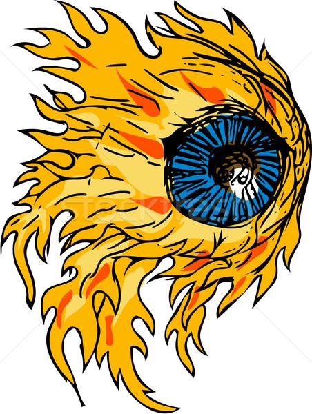 Llameante globo del ojo fuego dibujo boceto estilo Foto stock © patrimonio