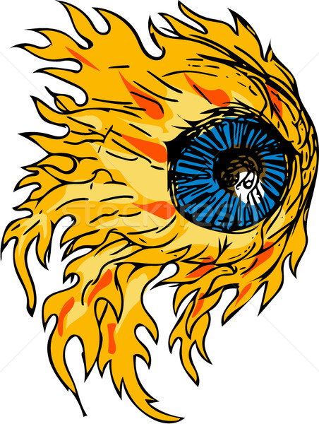 Chamejante globo ocular fogo desenho esboço estilo Foto stock © patrimonio