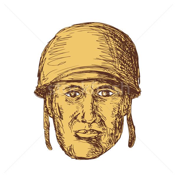 WW2 American Soldier Head Drawing Stock photo © patrimonio