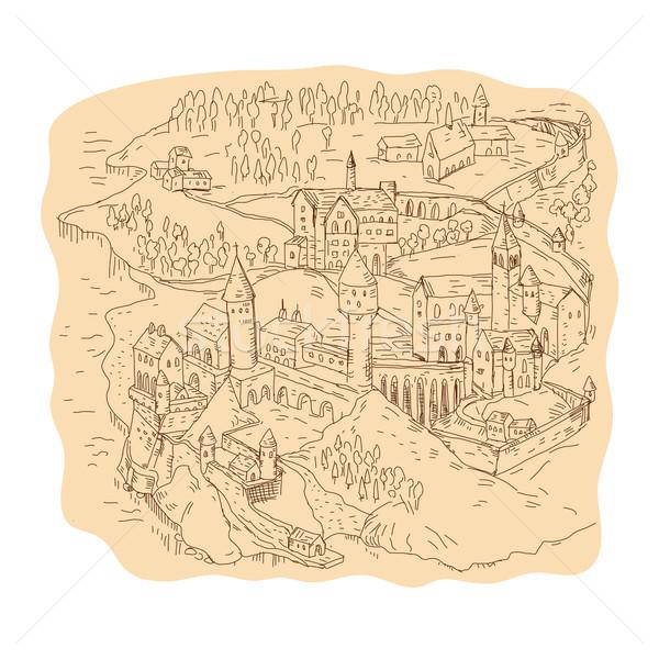средневековых фантазий карта рисунок эскиз стиль Сток-фото © patrimonio