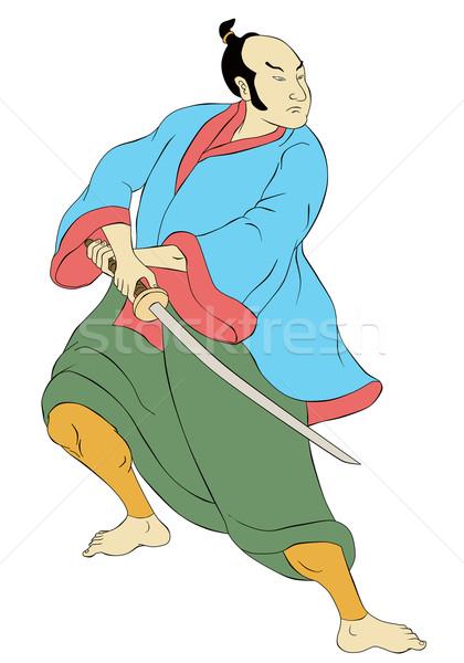 Samurai guerreiro espada posição ilustração Foto stock © patrimonio