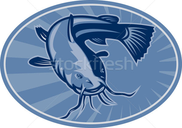 Bullhead Catfish Retro Woodcut Stock photo © patrimonio