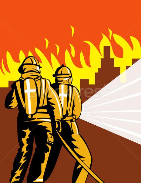 Brandweerman brand vechter vechten illustratie retro-stijl Stockfoto © patrimonio