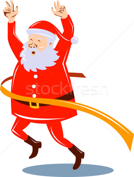 Father Christmas Santa Claus running a race Stock photo © patrimonio