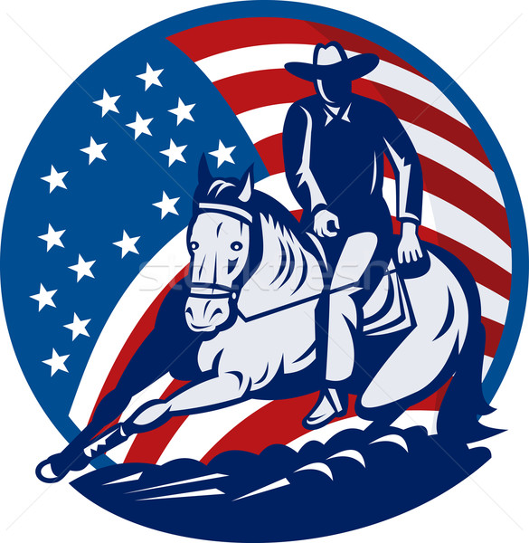 Rodeo cowboy horse cutting stars and stripes Stock photo © patrimonio