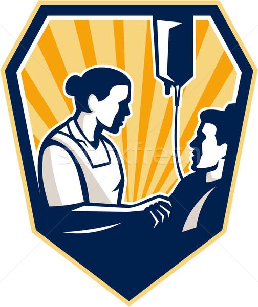 Enfermeira doente paciente retro ilustração cama Foto stock © patrimonio