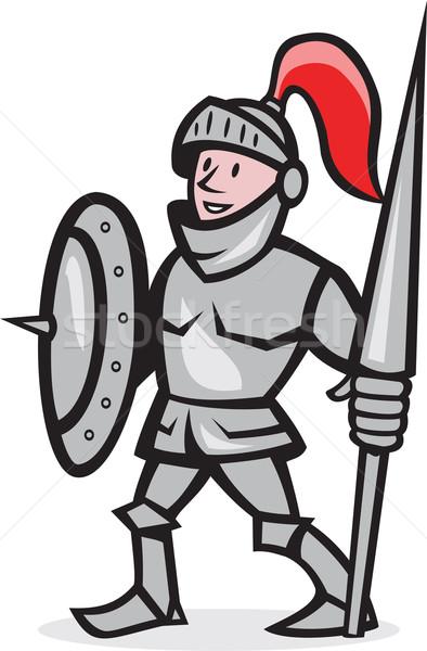 Knight Shield Holding Lance Cartoon Stock photo © patrimonio