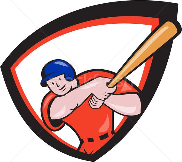 Jogador de beisebol escudo desenho animado ilustração americano Foto stock © patrimonio
