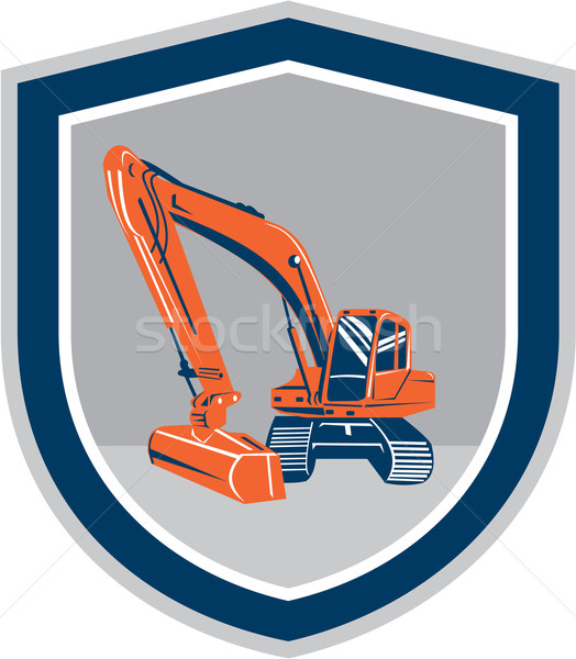 Mechanical Digger Excavator Retro Shield Stock photo © patrimonio
