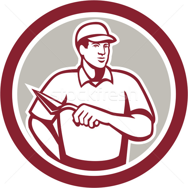 Albañil albañilería trabajador círculo ilustración trabajador de la construcción Foto stock © patrimonio