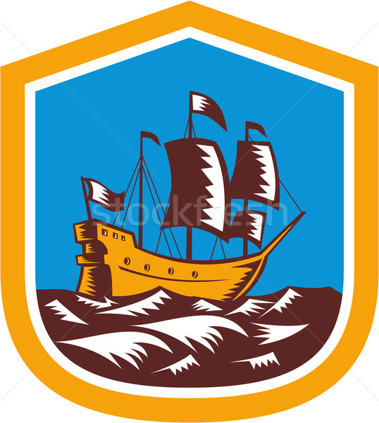 Sailing Ship Galleon Crest Retro Woodcut Stock photo © patrimonio