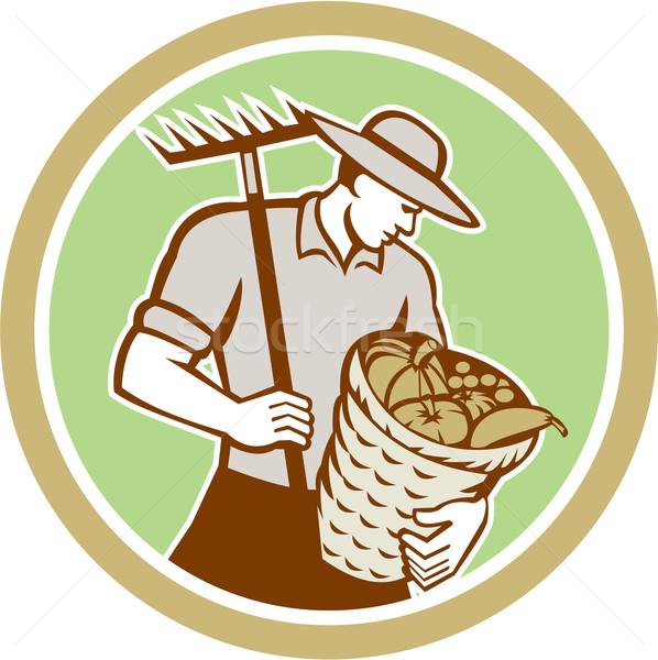 Organikus gazda tart gereblye aratás kosár Stock fotó © patrimonio