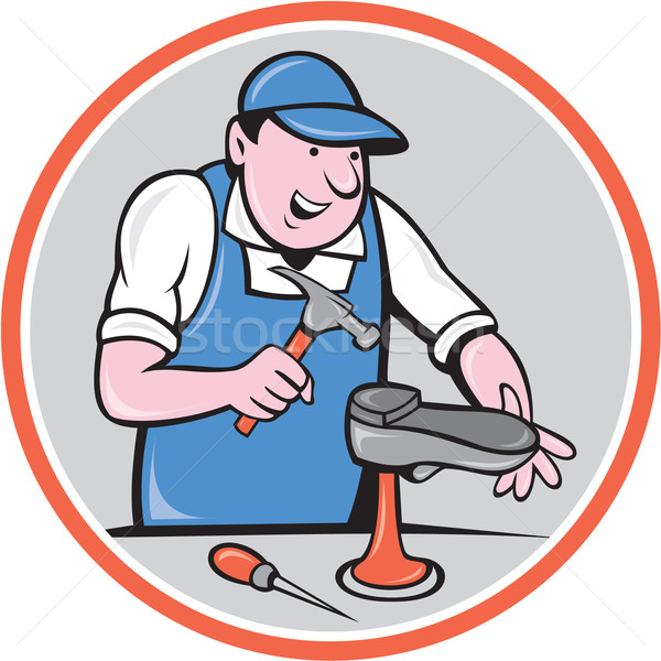 Shoemaker With Hammer Shoe Circle Cartoon Stock photo © patrimonio
