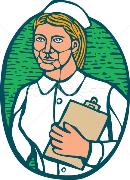 Nurse Holding Clipboard Oval Woodcut Linocut Stock photo © patrimonio