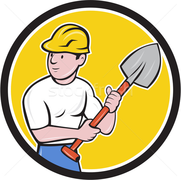 Builder Construction Worker Holding Spade Cartoon Stock photo © patrimonio