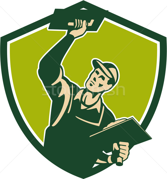 Plasterer Mason Worker Trowel Shield Retro Stock photo © patrimonio