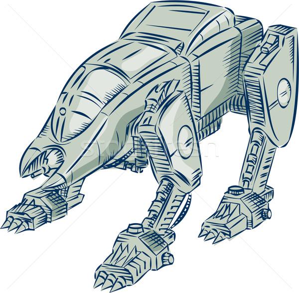 Mecha Bot High Angle Etching Stock photo © patrimonio