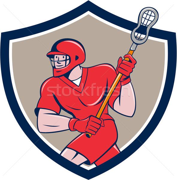 Lacrosse Player Crosse Stick Running Shield Cartoon Stock photo © patrimonio