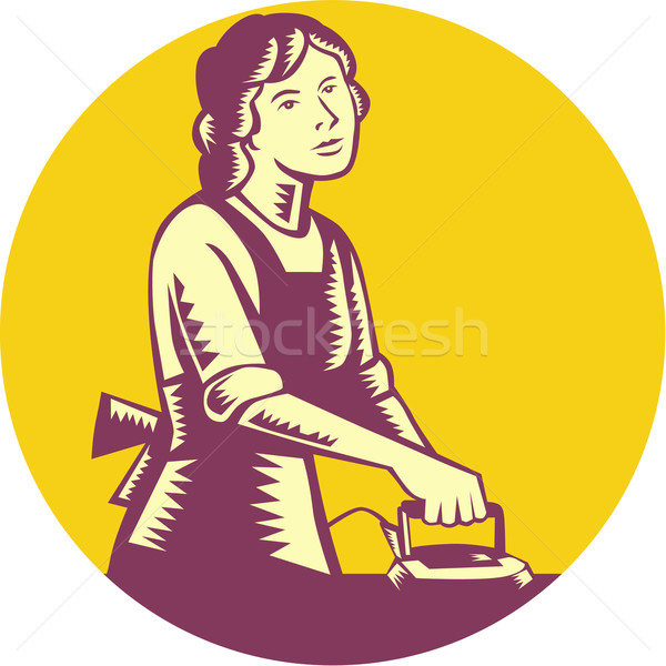 Housewife Ironing Circle Woodcut Stock photo © patrimonio