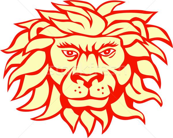 Angry Lion Big Cat Head Retro Stock photo © patrimonio