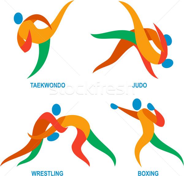 Judo taekwondo boxeo icono ilustración Foto stock © patrimonio